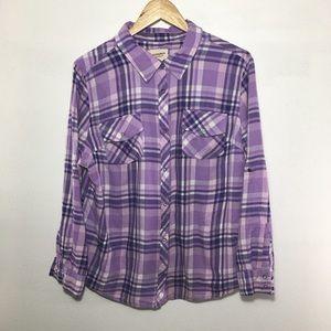 Arizona Jeans XXL purple plaid button down shirt.